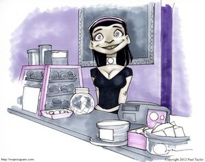 Tina in the shop