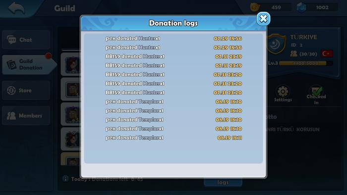 Guild donation logs