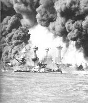 Burning ships at Pearl Harbor