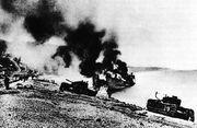 British Landing Craft on Beach at Dieppe