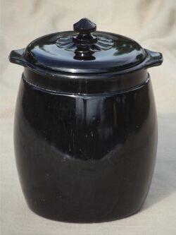 Vintage-black-milk-glass-cookie-jar-ebony-black-opaque-glass-painted-flowers-Laurel-Leaf-Farm-item-no-u93114-3