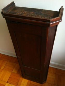 Unusual antique mission arts crafts style lectern podium or cabinet 1 thumb2 lgw