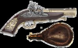 Gunpowder flask and pistol