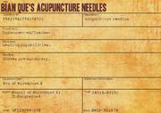 Bian Que's Acupuncture Needles