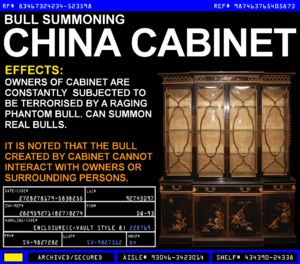 Bull Summoning China Cabinet