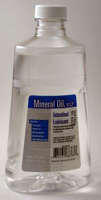 Mineral oil bottle-front