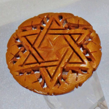 Wood star of david brooch
