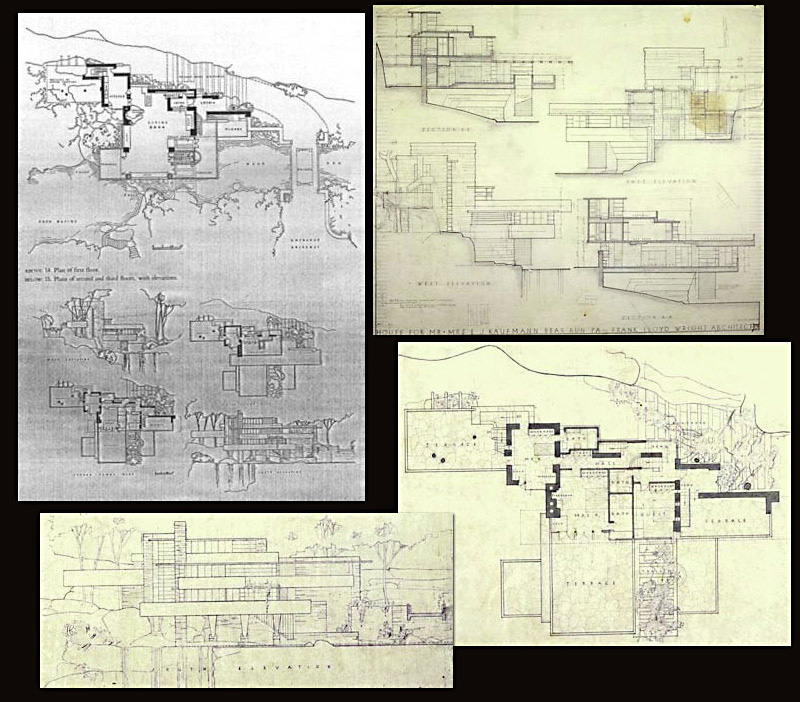 Frank lloyd wrights blueprints of fallingwater warehouse 13 fallingwater malvernweather Image collections