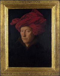 Portrait of a Man in a Turban (Jan van Eyck) with frame