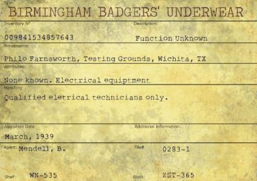 Badger's Underwear Card
