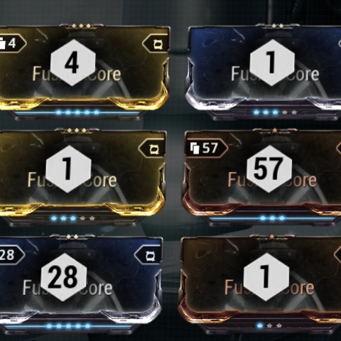 Numbers on mod cards showing how many of the mods will be used in the auto-fuse process.
