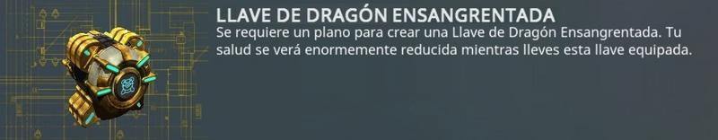 Llave dragón ensangrentada - reducción de salud