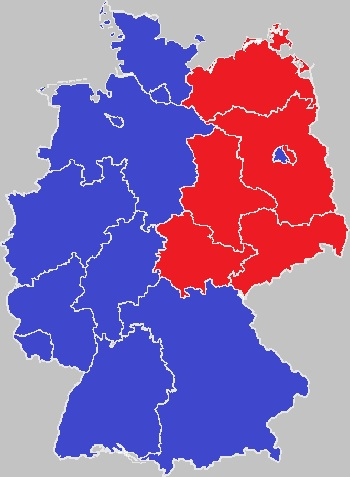 map of divided germany blue west germany red east germany