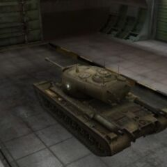 A rear left view of a T29 in a garage