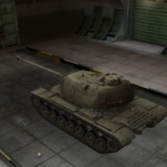A rear left view of a M103 in a garage