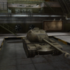 A front right view of a M103 in a garage