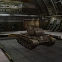 A front right view of a M46 Patton in a garage