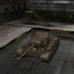 A front left view of a M46 Patton in a garage