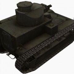 A rear right view of a T2 Medium Tank