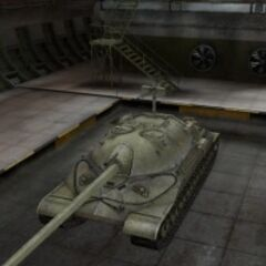 A front left view of a IS-7 in a garage