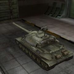 A rear left view of a IS-7 in a garage