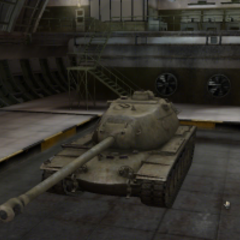 A front left view of a M103 in a garage