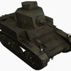 A front right view of a M3 Stuart