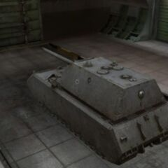 A rear left view of a Maus in a garage