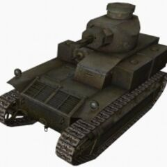 A front left view of a T2 Medium Tank