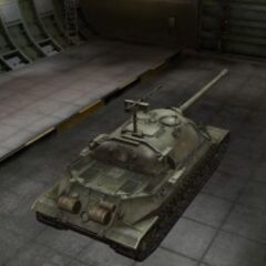 A rear right view of a IS-7 in a garage