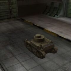 A rear left view of a M2 Light Tank in a garage
