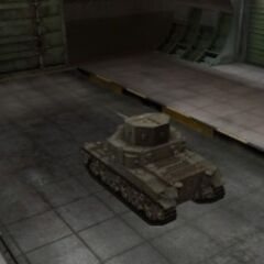 A rear left view of a M2 Medium Tank in a garage
