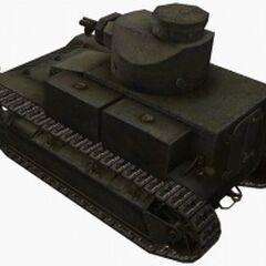 A rear left view of a T2 Medium Tank