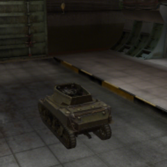 A rear left view of a M8A1 in a garage