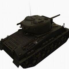 A rear right view of a M4A3E8 Sherman