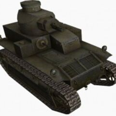 A front right view of a T2 Medium Tank