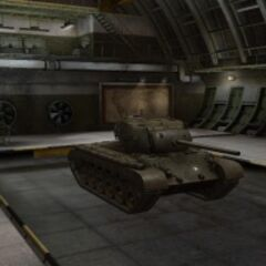 A front right view of a M26 Pershing in a garage