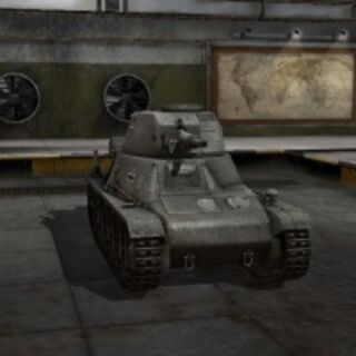 A front view of a Pz.Kpfw. 38H 735 (f) in a garage