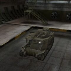 A front left view of a M3 Lee in a garage