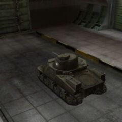 A rear left view of a M3 Lee in a garage