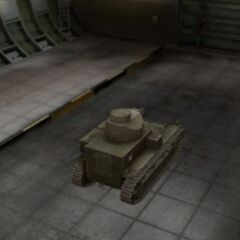 A rear right view of a T2 Medium Tank in a garage