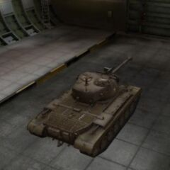 A rear right view of a M46 Patton in a garage