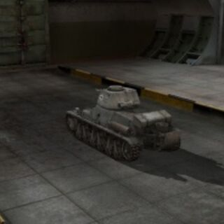 A rear left view of a Pz.Kpfw. 38H 735 (f) in a garage