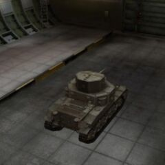 A rear right view of a M2 Medium Tank in a garage