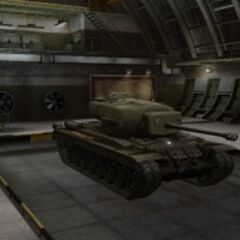 A front right view of a T29 in a garage