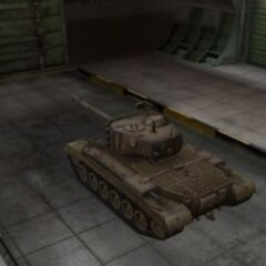 A rear left view of a M46 Patton in a garage