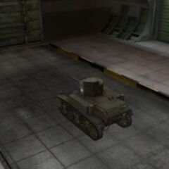 A rear left view of a M3 Stuart in a garage