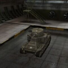 A front left view of a M2 Medium Tank in a garage