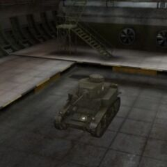 A front left view of a M3 Stuart in a garage
