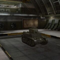 A front right view of a M3 Stuart in a garage